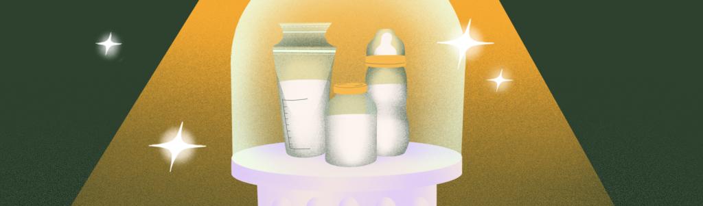 An illustration of 3 bottles of breast milk